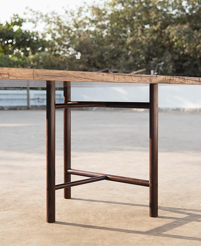 Pinned Trestle Table, Rosewood & teak